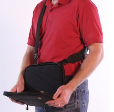 "The tablet as well as interior contents can be accessed ""on the go"" by flipping down the front of the case. Internal straps can be adjusted to position the tablet at the ideal angle."